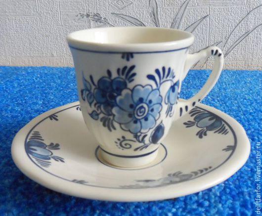 Винтажная посуда. Ярмарка Мастеров - ручная работа. Купить Delft кофейная пара Делфт. Handmade. Голубой, чашка с блюдцем