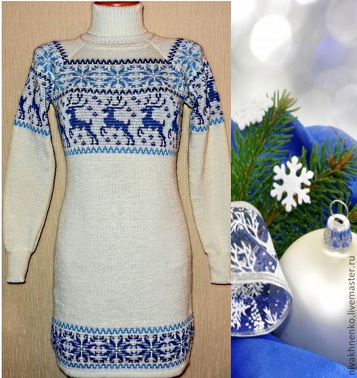 Sweater dress knitted with reindeer and Norwegian ornament snow maiden, Sweaters, Moscow,  Фото №1