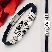 Украшения handmade. Livemaster - original item Bracelet with rune Inguz - development and growth. Silver, leather, handmade. Handmade.
