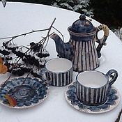 """Посуда ручной работы. Ярмарка Мастеров - ручная работа Набор для чая """"Морозное утро"""" Чайный сервиз Керамика. Handmade."""
