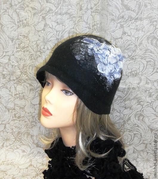 """Шляпы ручной работы. Ярмарка Мастеров - ручная работа. Купить шляпка """"Гортензия"""". Handmade. Шляпки, головные уборы из войлока"""