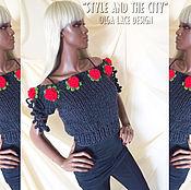 """Одежда ручной работы. Ярмарка Мастеров - ручная работа Джемпер с розами из коллекции """"Style and the City"""" от Olga Lace. Handmade."""
