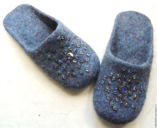 """Обувь ручной работы. Ярмарка Мастеров - ручная работа. Купить Тапочки валяные женские """"Деним"""". Handmade. Тёмно-синий"""