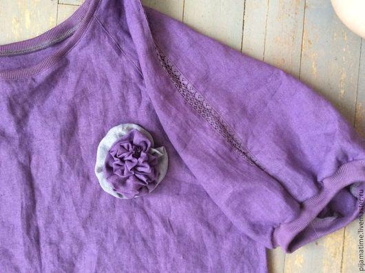 Костюмы ручной работы. Ярмарка Мастеров - ручная работа. Купить Льняной костюм с брошью и кружевной вставкой ярко-фиолетовый. Handmade.