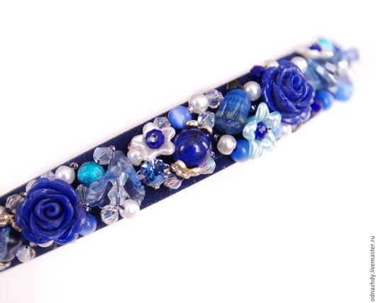 """Свадебные украшения ручной работы. Ярмарка Мастеров - ручная работа. Купить Ободок для волос """"Blue"""" в стиле Дольче Габбана. Handmade."""