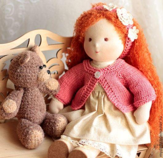 Вальдорфская игрушка ручной работы. Ярмарка Мастеров - ручная работа. Купить Вальдорфская кукла Маруся (33 см) с гардеробом и мишкой. Handmade.