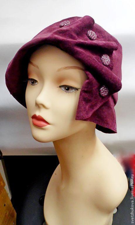 Шляпы ручной работы. Ярмарка Мастеров - ручная работа. Купить Замшевая шляпка мод. 005-6. Handmade. Бордовый