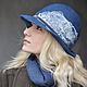 """Шляпы ручной работы. Шляпка """"Wave"""". Shellen's HATS. Интернет-магазин Ярмарка Мастеров. Зима, девушка, джинс, шерстяная шапка"""