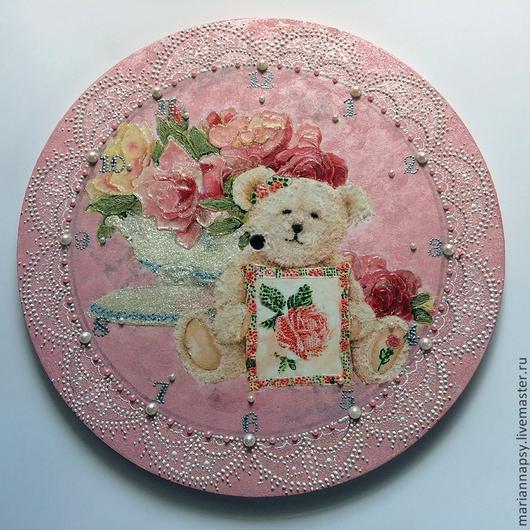 Часы для дома ручной работы. Ярмарка Мастеров - ручная работа. Купить Часы для принцессы. Handmade. Розовый, заготовка из фанеры