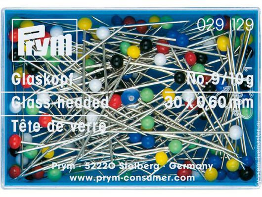 Булавки со стеклянными головками, цветные, термоустойчивые, закаленные для шитья, 30*0,6мм, 10 грамм, Prym 029129