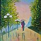 Город ручной работы. Ярмарка Мастеров - ручная работа. Купить Двое под дождем. Handmade. Зонт, дождь, разноцветный