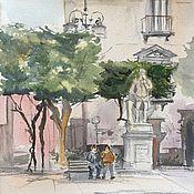 """Картины и панно ручной работы. Ярмарка Мастеров - ручная работа """"Площадь в Сорренто"""", акварель. Handmade."""