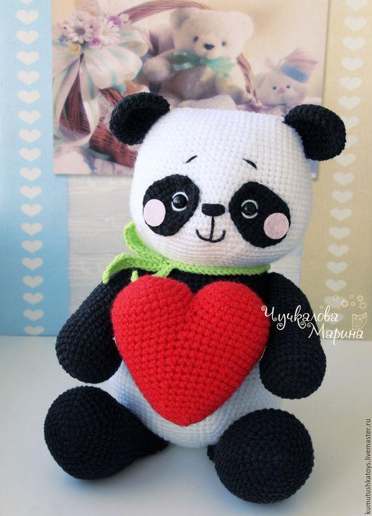Вязание ручной работы. Ярмарка Мастеров - ручная работа. Купить МК Влюбленный панда. Handmade. Белый, День Святого Валентина
