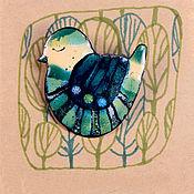 """Брошь-булавка ручной работы. Ярмарка Мастеров - ручная работа Брошь """"Изумрудная птица"""" горячая эмаль. Handmade."""