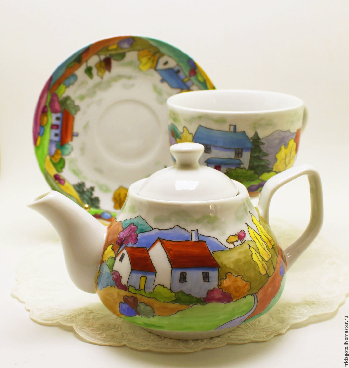 Painted porcelain. Tea egoist ' Trip to Provence', Tea & Coffee Sets, Kaluga,  Фото №1