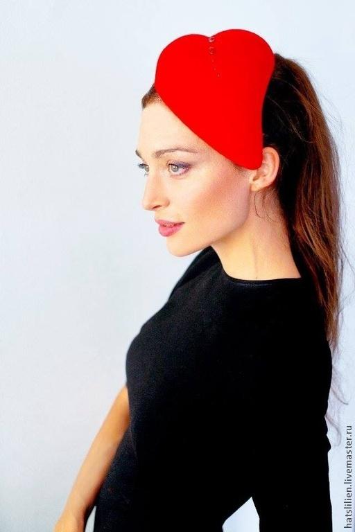 """Шляпы ручной работы. Ярмарка Мастеров - ручная работа. Купить Шляпка """"Валентинка"""". Handmade. Ярко-красный, шляпка, оригинальный подарок"""