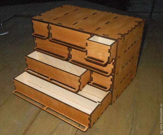 Корзины, коробы ручной работы. Ярмарка Мастеров - ручная работа. Купить Ящик короб для мелочей 4 этажа. Handmade.