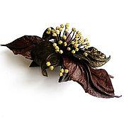 Украшения handmade. Livemaster - original item Barrette hair clip flower antique brown bronze olive. Handmade.