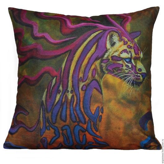"""Текстиль, ковры ручной работы. Ярмарка Мастеров - ручная работа. Купить Подушка """"Тигриная охота"""". Handmade. Разноцветный, леопард, Пятнистый"""