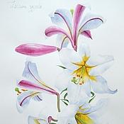Картины и панно handmade. Livemaster - original item the royal lily watercolor. Handmade.