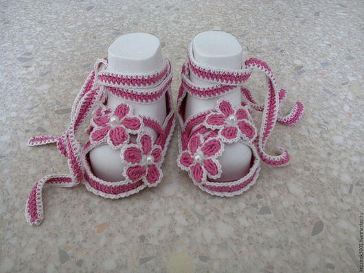 Для новорожденных, ручной работы. Ярмарка Мастеров - ручная работа. Купить Пинетки-сандалики. Handmade. Розовый, пинетки для новорожденных