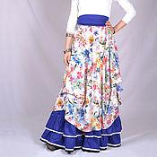 Одежда ручной работы. Ярмарка Мастеров - ручная работа Бохо-комплект летний белый с синим низом.. Handmade.