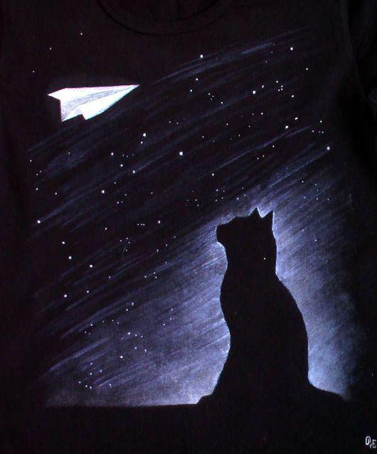 "T-Shirts & A-Shirts handmade. Livemaster - handmade. Buy T-shirt ""Night Fly"".T-shirt, black"
