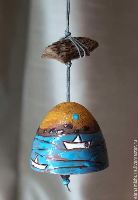 """Колокольчики ручной работы. Ярмарка Мастеров - ручная работа. Купить Колокольчик """"По волнам..."""". Handmade. Голубой, керамический колокольчик"""