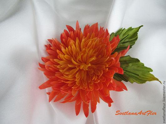 """Цветы ручной работы. Ярмарка Мастеров - ручная работа. Купить Заколка для волос """"Астра"""". Handmade. Оранжевый, заколка с цветами"""