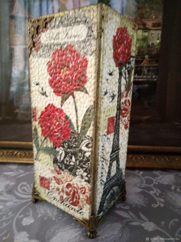 Вазы ручной работы. Стеклянная ваза Париж