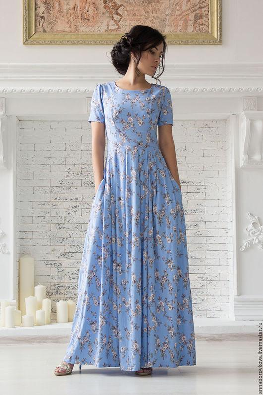 """Платья ручной работы. Ярмарка Мастеров - ручная работа. Купить Платье """"Жасмин"""". Handmade. Голубой, платье летнее, платье вечернее"""