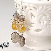 Украшения handmade. Livemaster - original item Earrings with Topaz and rutile quartz. Handmade.