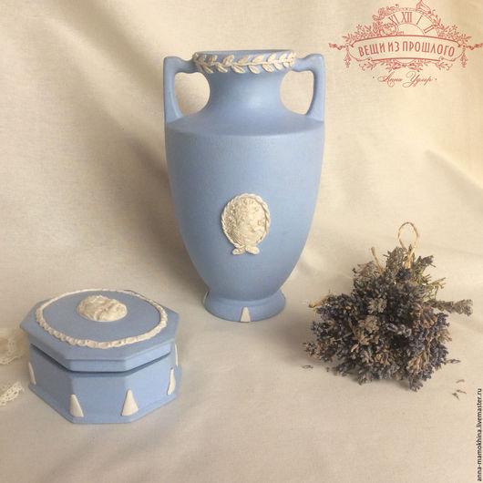 """Вазы ручной работы. Ярмарка Мастеров - ручная работа. Купить Ваза и шкатулка в стиле """"Wedgewood"""".. Handmade. Голубой, маленькая шкатулка"""