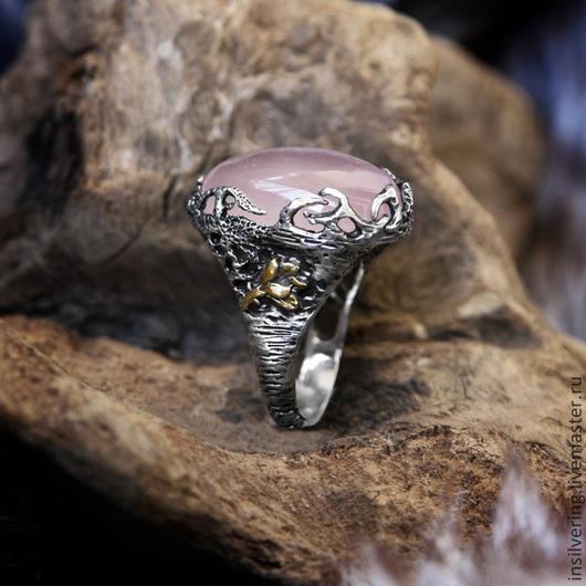 """Кольца ручной работы. Ярмарка Мастеров - ручная работа. Купить Кольцо """"Аликанте"""" с розовым кварцем. Handmade. Серебро 925 пробы"""