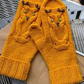 Аксессуары handmade. Livemaster - original item A copy of the work Mittens knitting owls. Handmade.