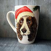 Посуда handmade. Livemaster - original item Dog mug - spaniel. Handmade.
