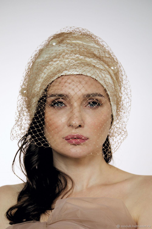 a9bb6cd8049 Buy Evening turban hat hijab head wrap millinery with Hats handmade.  Evening turban hat hijab head wrap millinery with net and Pearls.