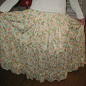 Одежда ручной работы. Ярмарка Мастеров - ручная работа Женская юбка  из хлопка Цветы. Handmade.