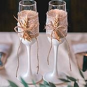 """Свадебный салон ручной работы. Ярмарка Мастеров - ручная работа Свадебные бокалы """"Рустик"""" Белый. Handmade."""
