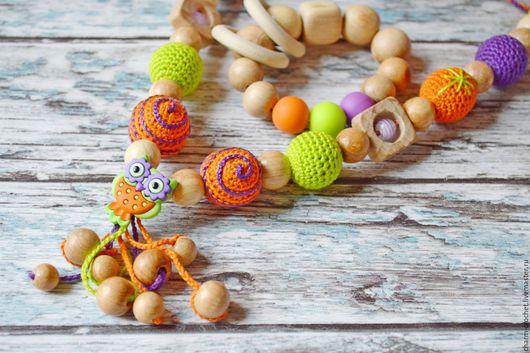 Слингобусы ручной работы. Ярмарка Мастеров - ручная работа. Купить Слиногобусы с совой  + грызунок можжевеловые оранжевый фиолетовый. Handmade.