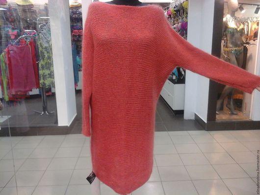Кофты и свитера ручной работы. Ярмарка Мастеров - ручная работа. Купить платье туника мохеровое кораллового цвета. Handmade. Коралловый