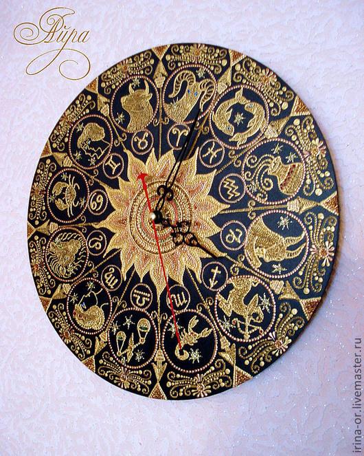 """Часы для дома ручной работы. Ярмарка Мастеров - ручная работа. Купить Часы """"Золотой зодиак"""". Handmade. Золотой, часы настенные"""