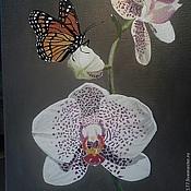 Картины и панно ручной работы. Ярмарка Мастеров - ручная работа Орхидея и бабочка. Handmade.