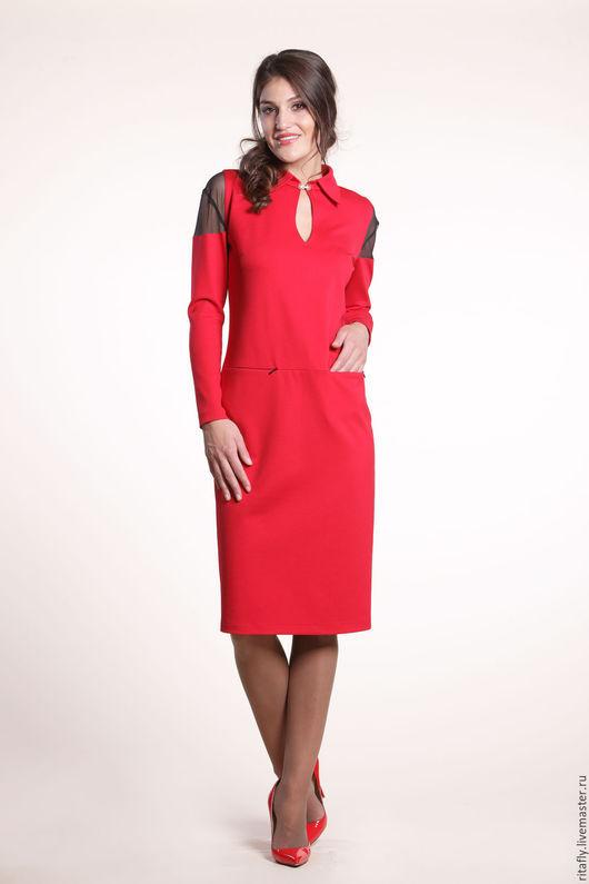 Платье с кружевом свободного кроя, до 56 размера. Платье для полных, больших размеров. Платье с карманами, до колен. Платье с длинным рукавом на каждый день или на праздник.