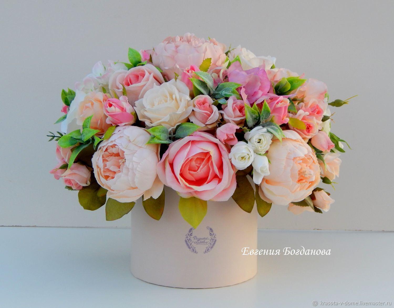 La Composicion De Colores En La Caja Shlyapnoj Regalo Flores - Manualidades-con-flores-artificiales