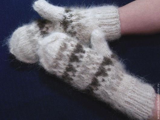Варежки, митенки, перчатки ручной работы. Ярмарка Мастеров - ручная работа. Купить Варежки женские из собачьей шерсти. Handmade.