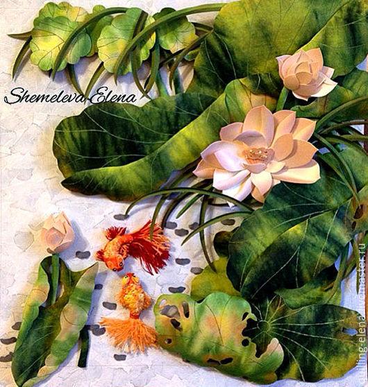 """Картины цветов ручной работы. Ярмарка Мастеров - ручная работа. Купить Картина - панно """"Лотосовое озеро"""". Handmade. Зеленый, ханди"""
