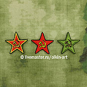 Субкультуры handmade. Livemaster - original item badge RED STAR hammer and sickle (yellow/red/field). Handmade.