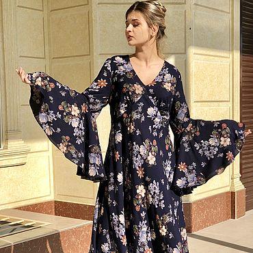 Одежда ручной работы. Ярмарка Мастеров - ручная работа Платье длинное, свободное из хлопка - Жестокий романс, синее. Handmade.