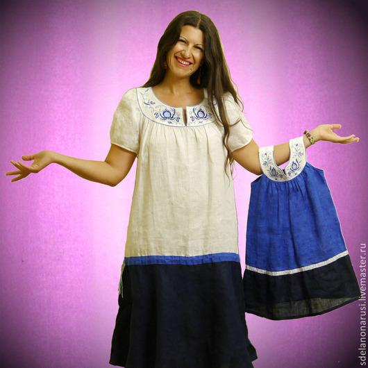 Платья ручной работы. Ярмарка Мастеров - ручная работа. Купить Платья Гжель. Handmade. Платье, нитки вискоза